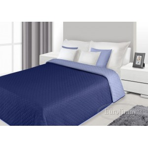 Přehoz na postel tmavě modré barvy s prošívaným vzorem