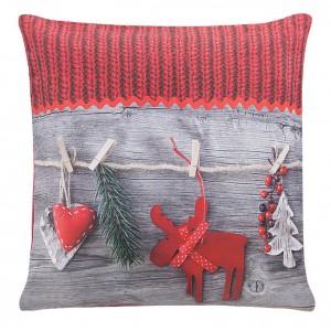 Šedé povlečení na polštářek s vánočním motivem