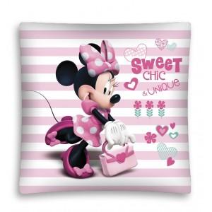 Růžové dětské povlečení na polštářek s Minnie
