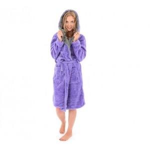 Hřejivé dámské župany fialové barvy