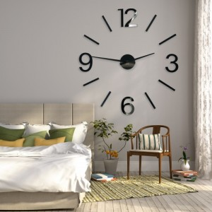 Dekorační hodiny na zeď v černé barvě