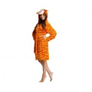 Dámský župan oranžové barvy s motivem tygra