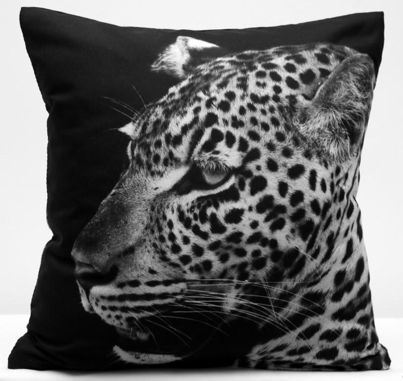 Černé povlaky na polštáře s podtiskem geparda