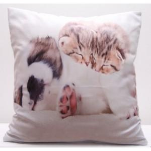 Bílé povlaky na polštáře s potiskem malých koťat a štěňátka