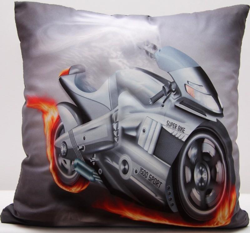 Šedý povlak na polštář s potiskem motorky