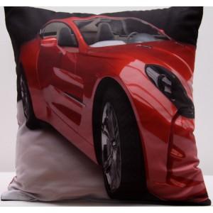 Šedý povlak na polštář s potiskem červeného auta