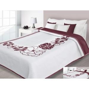 Luxusní oboustranný přehoz na postel bílé barvy s bordó květy