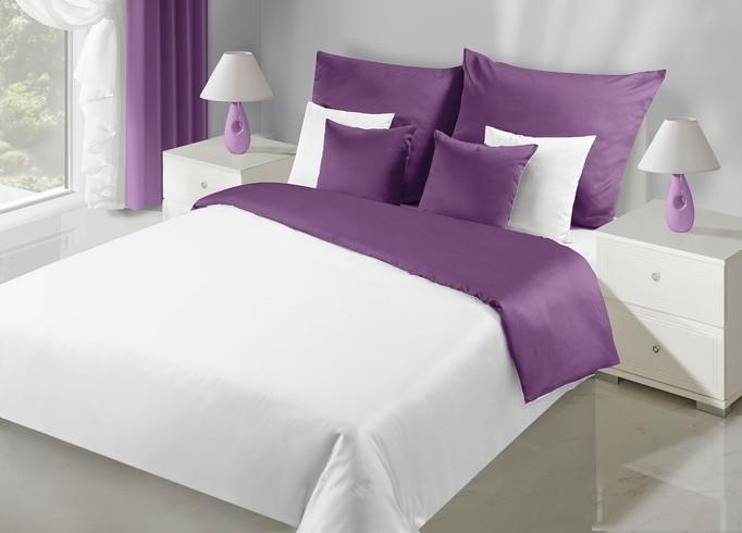 Oboustranné ložní povlečení bílo fialové barvy
