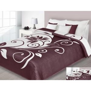 Luxusní oboustranný přehoz na postel bordově bílý s motivem