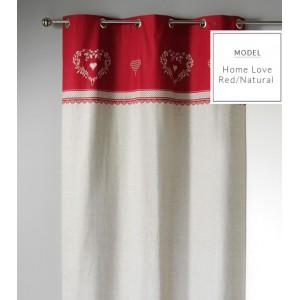 Vánoční Skandinávské závěsy v bílo červené barvě se srdíčky