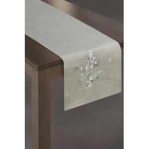 Stříbrné dekorační běhouny na stůl s vánočním motivem