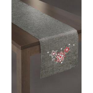 Vánoční dekorační běhoun na stůl ve stříbrné barvě s červenými hvězdami