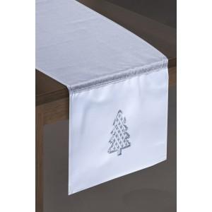 Stříbrno bílá vánoční štola na stůl s vánočním stříbrným stromečkem