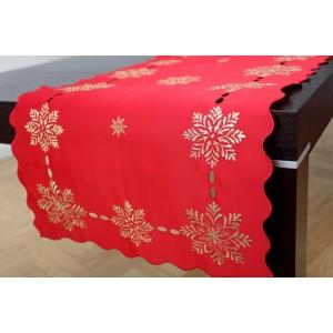 Červený dekorativní běhoun na štědrovečerní stůl se stříbrnými vločkami