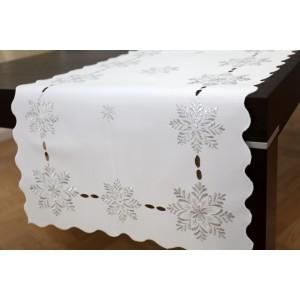 Elegantní dekorační vánoční běhoun na stůl v bílé barvě se sněhovými vločkami