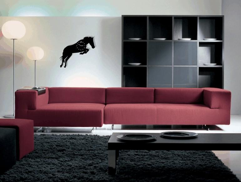 Kůň nástěnné hodiny do obýváku