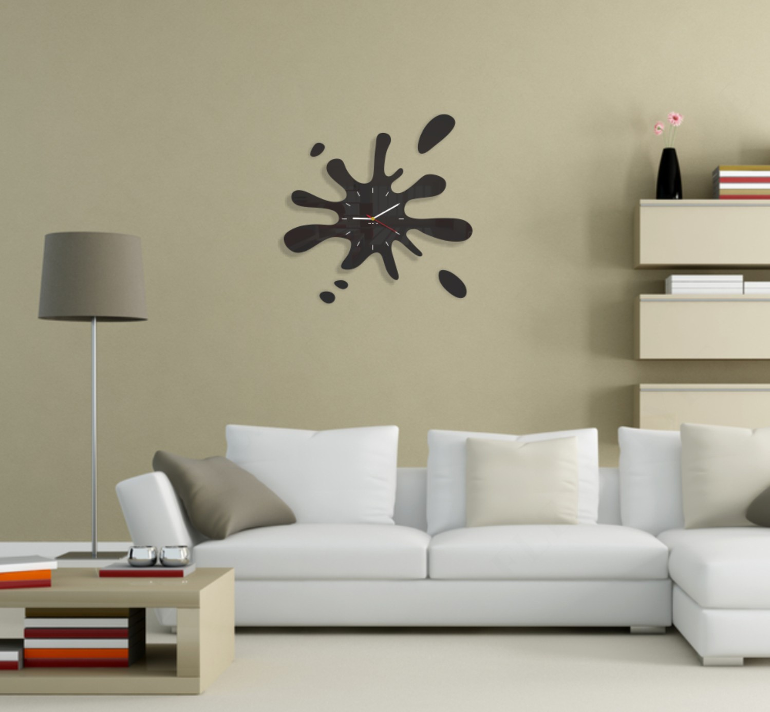 Moderní nástěnné hodiny ve tvaru kaňky