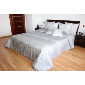 Luxusní šedý přehoz na manželskou postel s ornamenty