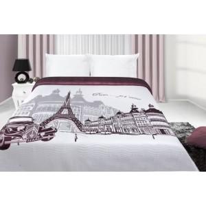 Bílo fialový přehoz na postel s potiskem města Paříž