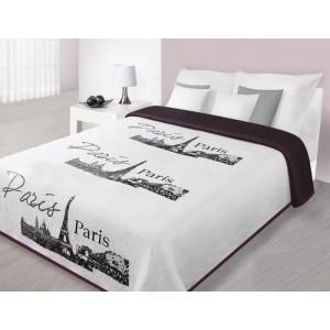 Přehoz na postel bílé barvy s panoramatem Paříže