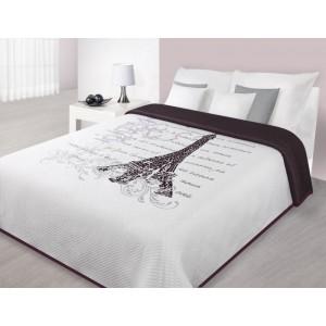 Přehozy na postele bílé barvy s motivem Eiffelovy věže