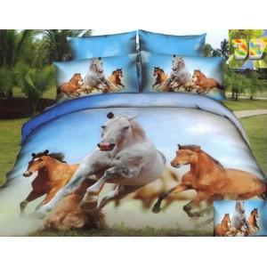 Modrá bavlněné povlečení s motivem cválajúcich koní