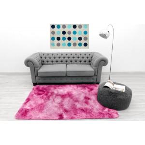 Hebký ombre plyšový koberec růžové barvy