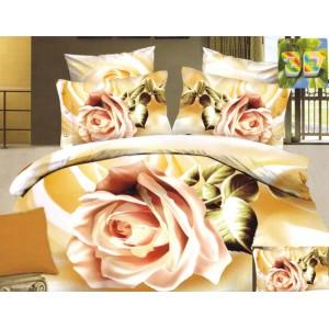 Bílo zlatá ložní prádlo s růžovou růží