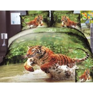 Zelená souprava ložního povlečení s tygrem v řece
