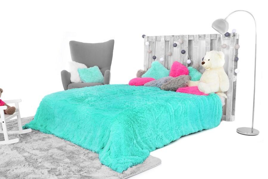 Luxusní plyšová deka tyrkysové barvy 150 x 200 cm