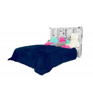 Chlupaté plyšové deky tmavě modré barvy