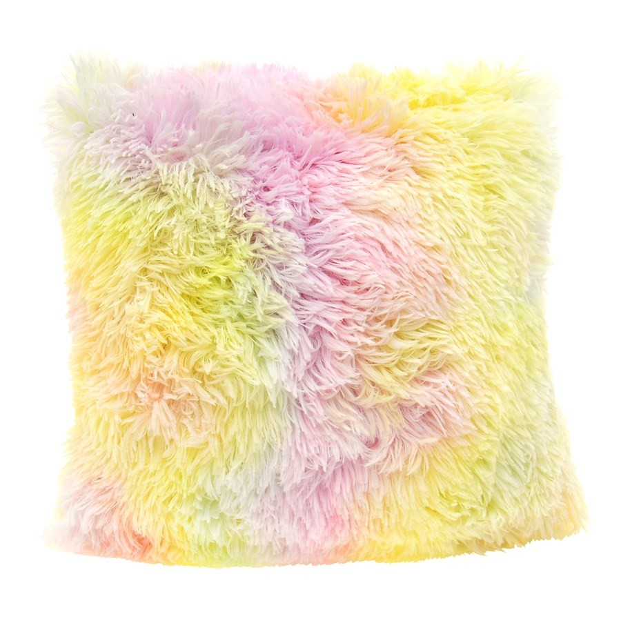 Chlupatý povlak na polštář duhové barvy