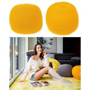 Moderní taburetka žluté barvy s výplní