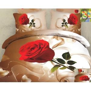 Moderní ložní povlečení 100% bavlněný satém s růží