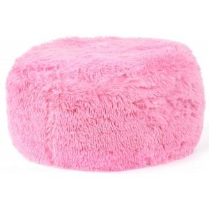 Chlupaté nafukovací taburetky světle růžové barvy