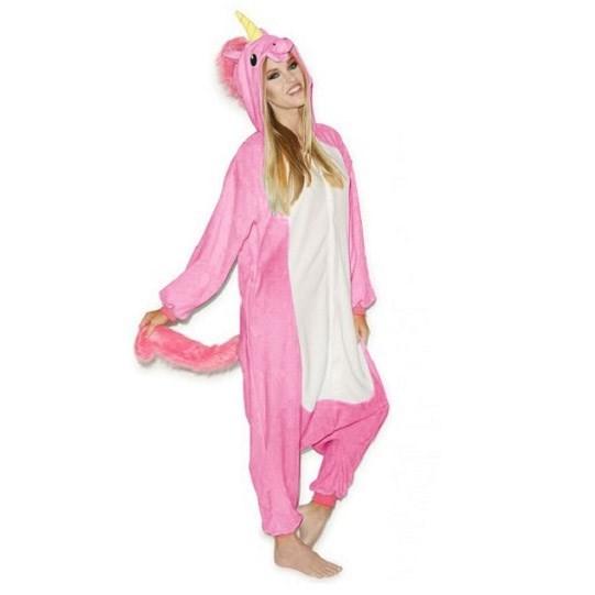 Růžové pyžamové overaly kigurumi pegas velikost L