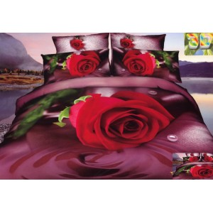 Luxusní povlečení 100% bavlněný satém s červenou růží
