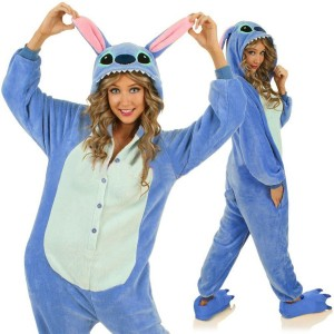 Pyžamové overaly kigurumi modré barvy s motivem stitch