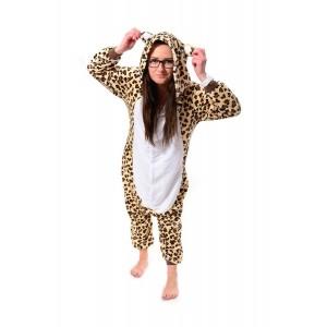 Moderní pyžamové overaly kigurumi s motivem leoparda