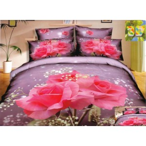 Moderní ložní povlečení 100% bavlněný satém s pěknými růžemi