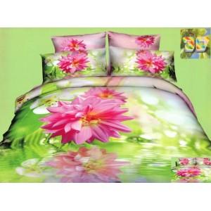 Zelené flanelové ložní povlečení s růžovým květem