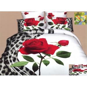 Moderní ložní povlečení 100% bavlněný satém bílé barvy s růží