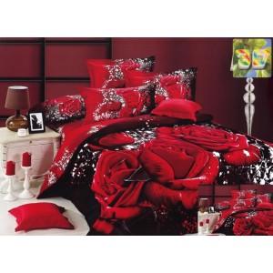 Bavlněné ložní povlečení černo bílé barvy s červenými růžemi