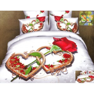 Luxusní povlečení 100% bavlněný satém bílý s růží
