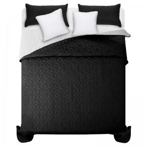 Černo bílý prošívaný přehoz na manželskou postel