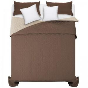 Oboustranný přehoz na manželskou postel hnědé barvy