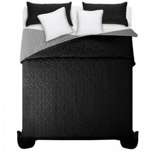 Černo šedý přehoz na manželskou postel s elegantním prošíváním