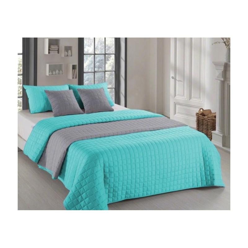 dbe45b5597 Mentolově šedé oboustranné přehozy na postel s prošíváním ...