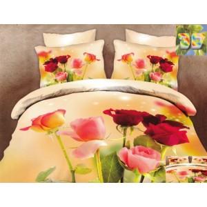 Luxusní povlečení 100% bavlněný satém s květinami