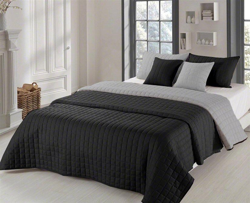 Oboustranné přehozy na postel černé barvy se vzorem 200 x 220 cm